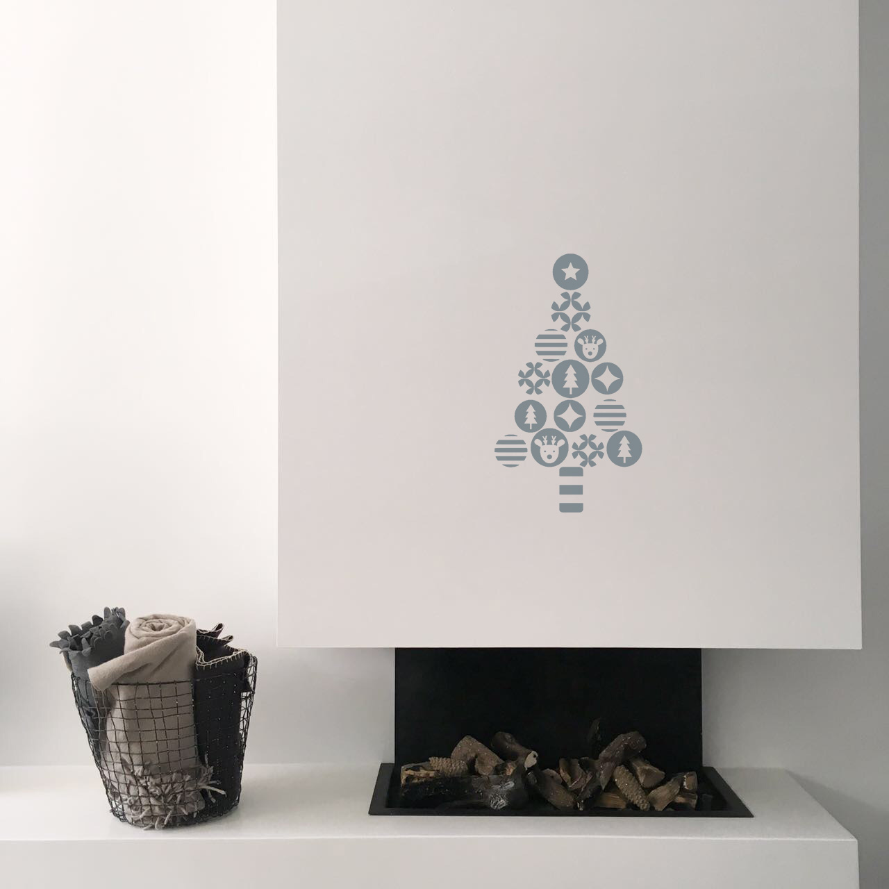 Fireplace with the christmas tree in grey