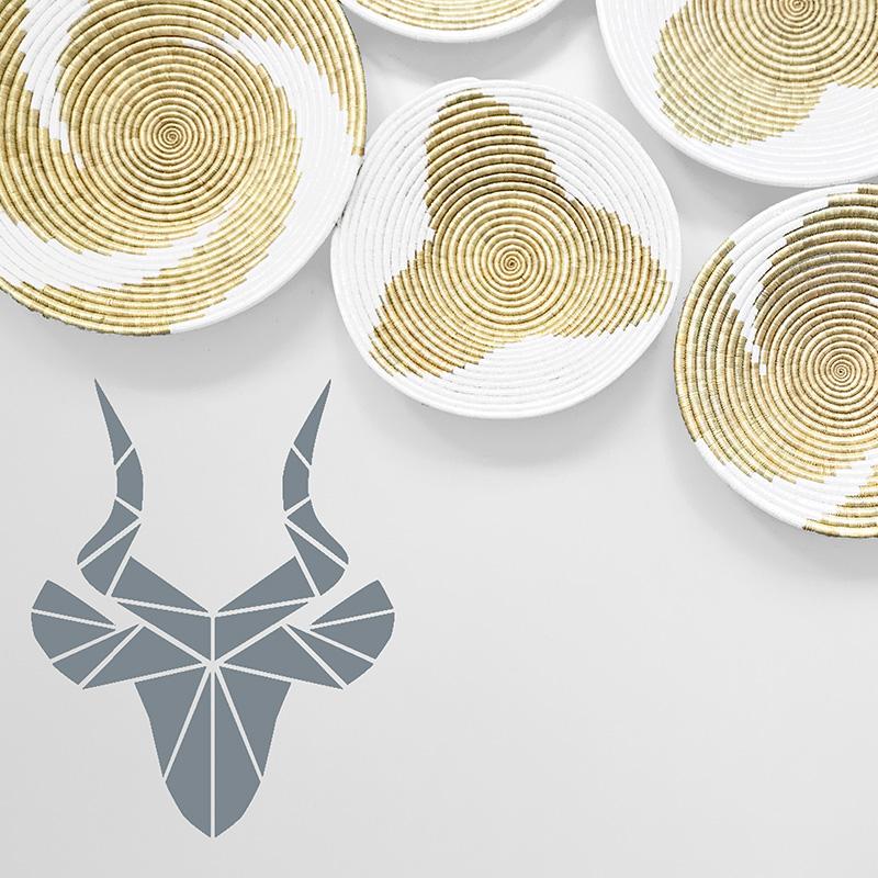 LR Square Geometric Antelope Grey