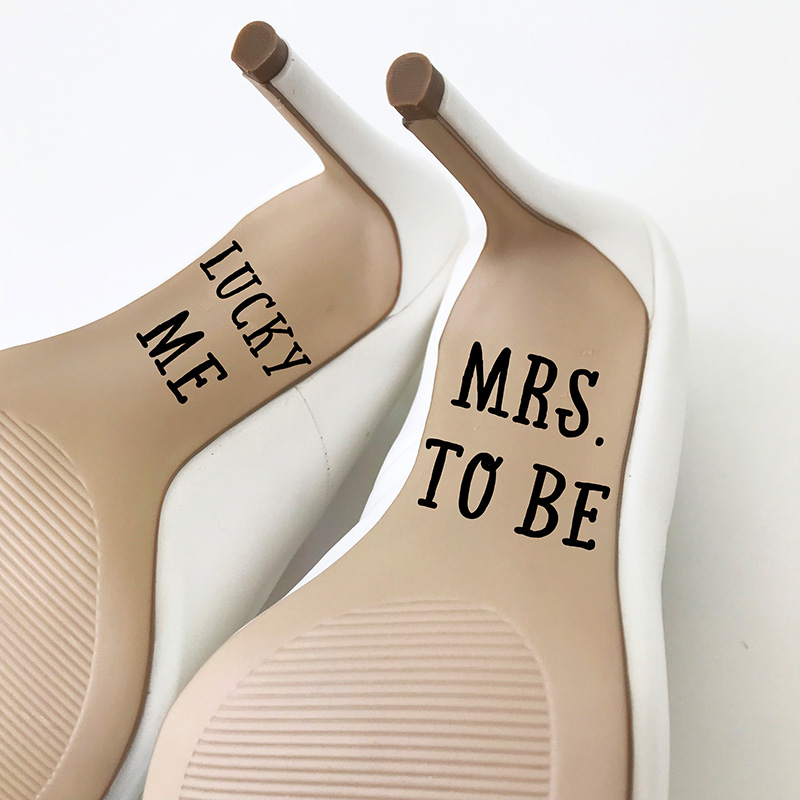 LR Wedding Shoe stickers LS lucky me mrs to be