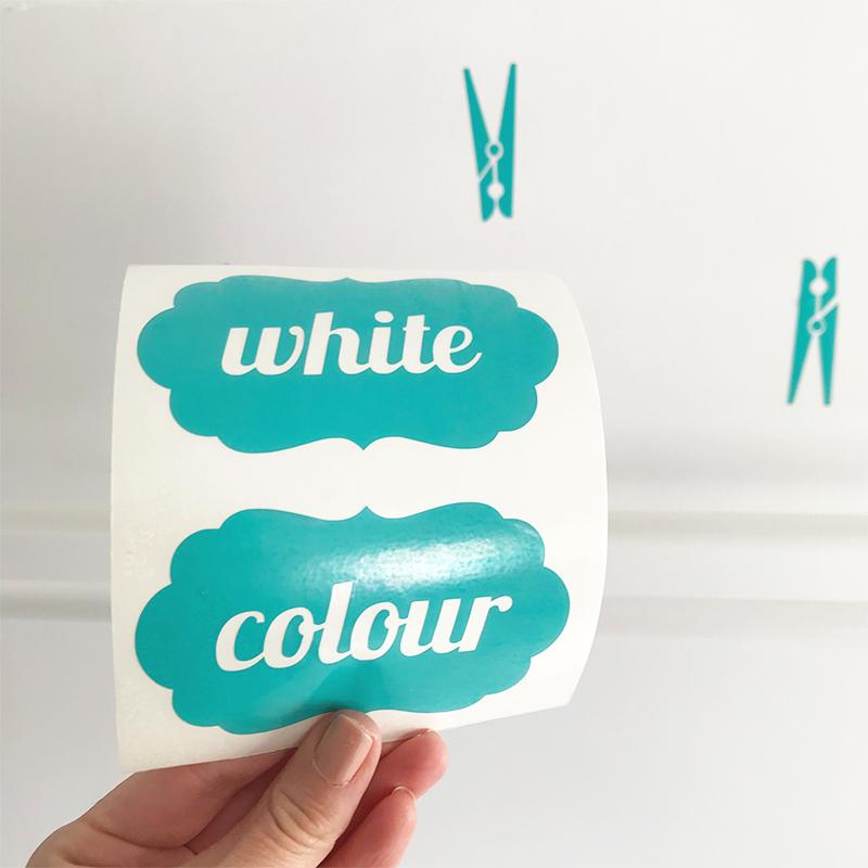 LR White Colour Washing Powder Labels Font 1 close up turquoise