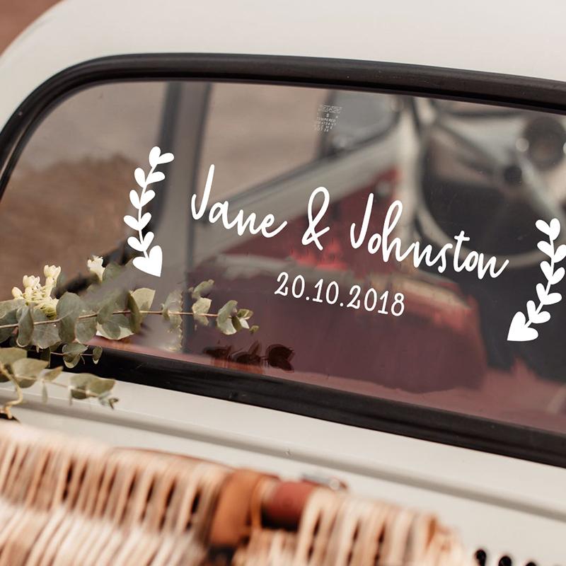 LR wedding car sticker option 13 with hearts 2