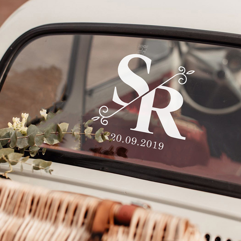 LR Wedding Car Sticker Split Monogram 1