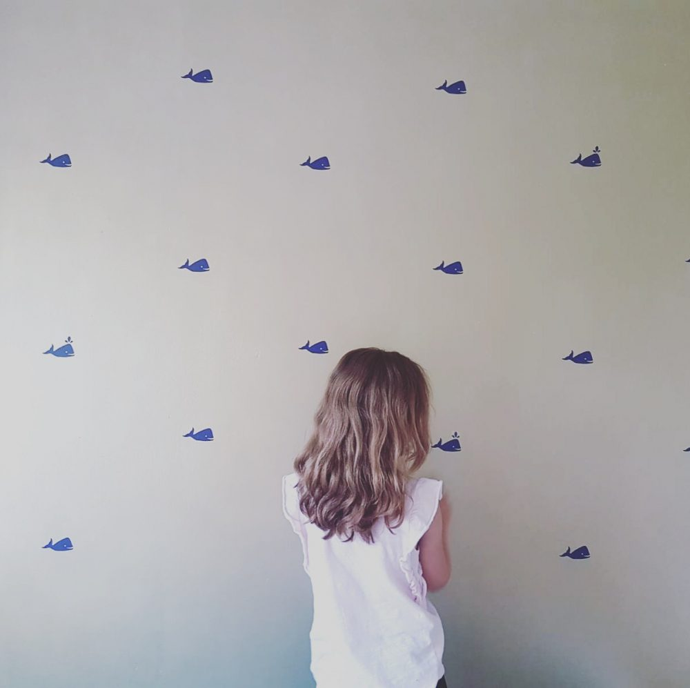 Whale wall decals dark blue